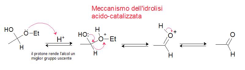 meccanismo dell'idrolisi acido catalizzata