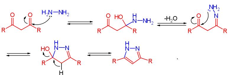 meccanismo di reazione nella sintesi del pirazolo